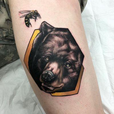 Bear and bee tattoo by Alex Bock #AlexBock #naturetattoos #color #realism #realistic #newschool #neotraditional #mashup #bear #bee #honeybee #animal #forestlife #tattoooftheday
