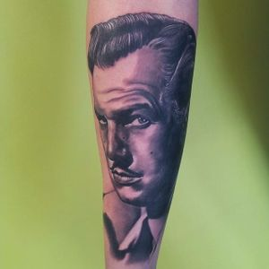 Vincent Price Tattoo by @marshmillostattoos #VincentPrice #VincentPriceTattoos #ActorTattoos #HollywoodTattoos #ClassicActor #hollywood #actorportrait