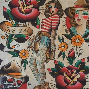 Flash design of a tattooed cowgirl pinup by Howlin' Wolf (IG—howlinwolftattoo). #cowgirl #flashart #HowlinWolf #pinup #roses #traditional