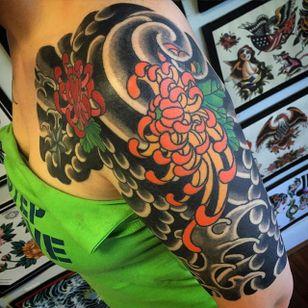 Traditional Japanese half sleeve, Chrysanthemum tattoo by Nicolas Fox. #sleeve #Japanese #flower #chrysanthemum #NicolasFox