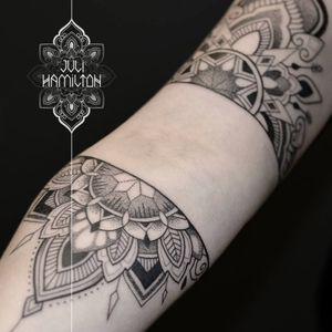Creative tattoo by Juli Hamilton #JuliHamilton #ornamental #halfmandala #dotwork #pointilism