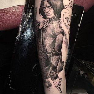 Severus Snape tattoo by Paupiette #Paupiette #comicstrip #comics #illustrative #dotwork #severussnape #harrypotter
