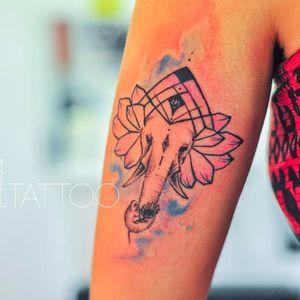 Elephant tattoo by Monica Gomes #elephant #watercolor #elephant #monitattoo #monicagomes #geometric