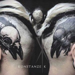 Awesome scalp tattoos done by Konstanze K. #KonstanzK #illustrativetattoos #crow #scalptattoo