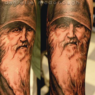 "An exact replica of ""Odin the Wander"" by Danielle McDonough (IG—rubyredtattoo). #AmericanGods #blackandgrey #DanielleMcDonough #Odin"
