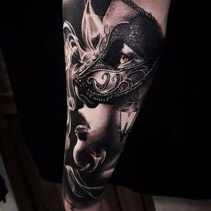 Portrait tattoo by Benji Roketlauncha #BenjiRoketlauncha #realistic #blackandgrey #portrait #photorealistic #smoke #mask
