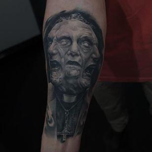 Healed demon tattoo by Edgar Ivanov. #healed #healedtattoo #realism #blackandgrey #blackandgreyrealism #EdgarIvanov #demon #possessed