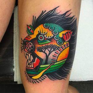 Eccentric lion head tattoo by Teide Tattoo #TeideTattoo #SevenDoorsTattoo #Neotraditional #Eccentric #AnimalTattoos #Lion
