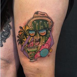 Funny tattoo by Brodie Pedersen #BrodiePedersen #80s #geometric #pickle #margarita #tropical
