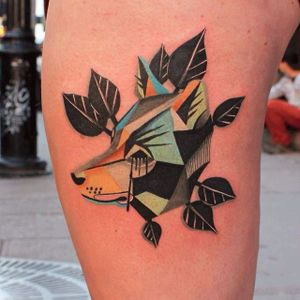 Low Poly Tattoo by Karl Marks #fox #animal #KarlMarks #lowpoly #color #leafes