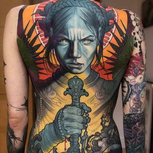 Joan of Arc tattoo by Steve Moore #SteveMoore #medievaltattoos #color #neotraditional #backpiece #realistic #Artnouveau #artdeco #joanofarc #sword #rosary #cross #stainedglass #pattern #floral