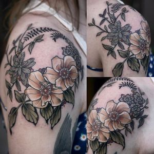 Garden-inspired tattoo by Kirsten Holliday. #KirstenHolliday #flower #garden #plant #neotraditional