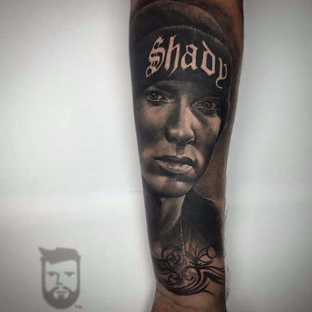 Eminem Tattoo by Ash Lewis #eminem #eminemart #marshallmathers #marshallmathersIII #rapper #rap #hiphop #music #AshLewis