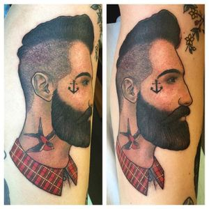 Neo traditional dapper hipster dude by Kaitlin Greenwood. #neotraditional #KaitlinGreenwood #dapper #gentleman #hipster