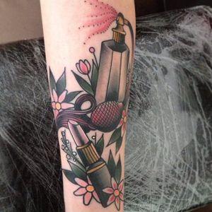 Makeup tattoo by Cassandra Frances. #makeup #girly #girlpower #perfume #lipstick