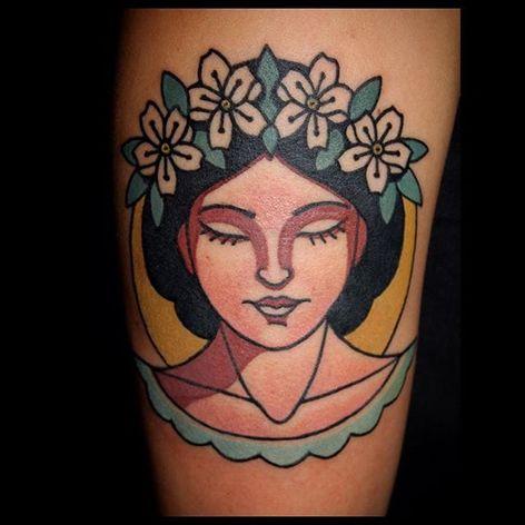 Woman Tattoo by Sebastian Domaschke #traditional #neotraditional #bold #classic #oldschool #SebastianDomaschke