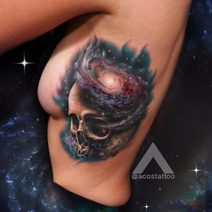 #AndresAcosta #tatuadorgringo #realismo #realism #coloridas #colorful #galaxia #galaxy #universo #universe #caveira #skull #estrelas #stars