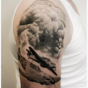 Plane tattoo by Emma Bundonis #EmmaBundonis #blackandgrey #realistic #plane