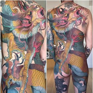 Dragon Back Tattoo by Steve Moore #back #backtattoo #backpiece #largetattoos #bigtattoos #SteveMoore