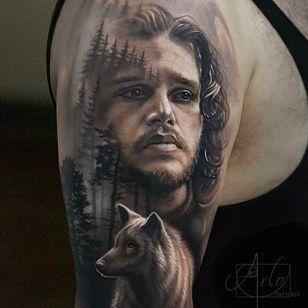 Jon Snow and Ghost Tattoo by @Arlotattoos #Ariotattoos #jonsnowtattoo #gameofthronestattoo #winteriscoming