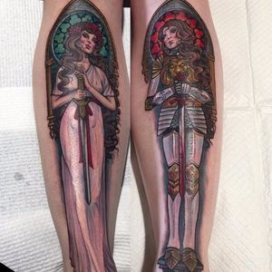 Women are heroes by Hannah Flowers #hannahflowers #Artnouveau #illustrative #AlphonseMucha #sword #knight #armor #portrait #lady #pinup #stainedglass #goddess #princess #tattoooftheday