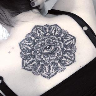 Eye Mandala tattoo by Flo Nuttall #FloNuttall #besttattoos #mandala #blackandgrey #ornamental #flowers #pattern #floral #eye #realistic #realism #linework #dotwork #tattoooftheday