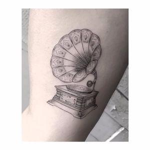 Exquisite phonograph tattoo by Max Le Squatt #fineline #MaxleSquatt #blackandgray #blackandgrey #finelineblackandgrey #minimalistic #linework #small #phonograph