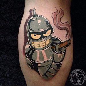 Bender Tattoo by David Spataro #Bender #Futurama #robot #cartoon #DavidSpataro