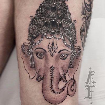 Ganesha by Antony Flemming #AntonyFlemming #blackandgrey #neotraditional #ganesha #elephant #deity #hindu #crown #pearls #thirdeye #jewels #tattoooftheday