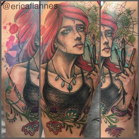 One of Erica Flannes' neo-traditional ladies (IG—ericaflannes). #EricaFlannes #ladyartist #neotraditional #NYCtattooshops #RedRocketTattoo