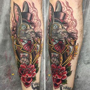 Gentleman rabbit by Ebony Mellowship. #neotraditional #EbonyMellowship #rabbit #rose #flower #gentleman