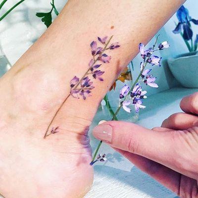 Small Purple Flower by Rit Kit (via IG-rit.kit.tattoo) #flowers #flora #color #nature