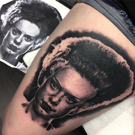 """A striking portrait of Frankensteins bride by Kyle """"Egg"""" Williams (IG—egg_ink). #blackandgrey #BrideofFrankenstein #KyleEggWilliams #monstermovies #portraiture #realism"""