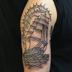 Traditional ship by the indelible Rob Banks at East River Tattoo. (via IG—robbanksofamerica) #traditional #ship #RobBanks #EastRiverTattoo