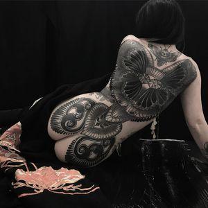 Backpiece tattoo by Vale Lovette #ValeLovette #blackandgrey #neotraditional #artnouveau #pattern #floral #wings #gems #diamonds #jewels #backpiece #ornamental #moth #deathmoth #skull