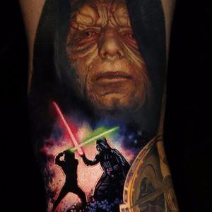Star Wars tattoo by Nikko Hurtado #NikkoHurtado #color #realism #realistic #photorealism #starwars #movietattoo #darthvader #lukeskywalker #deathstar #darthsidious #lightsaber #tattoooftheday