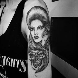 Black and grey beauty by Chuco Moreno #ChucoMoreno #blackandgrey #lady #skull #tattoooftheday