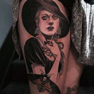 Dark lady tattoo by Jurgen Eckel #JurgenEckel #neotraditional #lady #blackAndWhite #bw