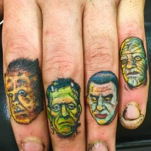 Horror characters finger tattoos by Allan Graves #AllanGraves #haunted #horror #halloween #frankenstein #dracula #werewolf #mummy