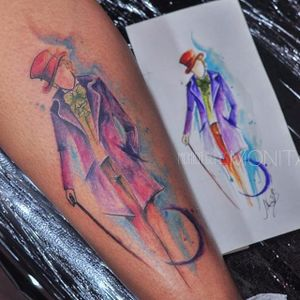 Willy Wonka #MonicaGomes #brazilianartist #brasil #brazil #TatuadorasDoBrasil #aquarela #watercolor #disney #willywonka #fantasticafábricadechocolate