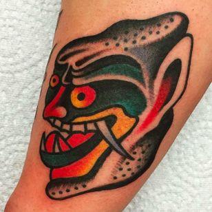 Crazy solid demon head tattoo by Alex Wild. #AlexWild #traditionaltattoo #boldtattoos #demon #demonhead