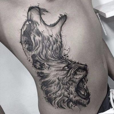 Leão e lobo juntos mostrando sua força e garra #DellNascimento #lobo #leão #sketch #lion #wolftattoo #wolf #pretoecinza #blackandgrey #TatuadoresDoBrasil