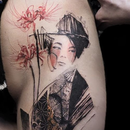 Geisha tattoo by Nadi #Nadi #TattooerNadi #illustrativetattoos #color #illustrative #geisha #lady #girl #Japanese #mashup #flower #floral #kimono #linework #abstract