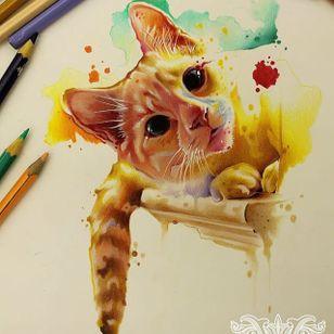 #gato #cat #aquarela #watercolor #vareta #ilustradorvareta #coloridos #brasil #brazil #portugues #portuguese #desenhos #drawing