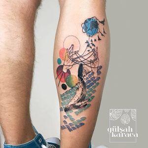 Conceptual tattoo by Gülşah Karaca. #GulsahKaraca #illustrative #graphic #technicolor #trippy #geometric #whale #conceptual