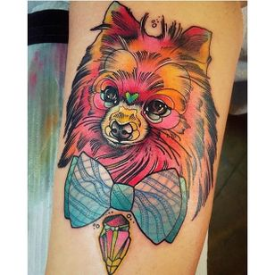 A psycadelic colorful fineline pomeranian tattoo to brighten up your day. Tattoo by Katei Shocrylas. #dog #pomeranian #fineline #colorful #KatieShocrylas