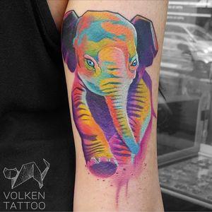 A watercolor baby elephant by Volken (IG—volkentattoo). #elephant #Volken #watercolor
