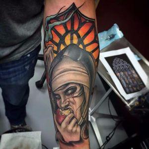 Demonic Nun Tattoo by Craig Gardyan #nun #demonicnun #darknun #evilnun #darkart #CraigGardyan