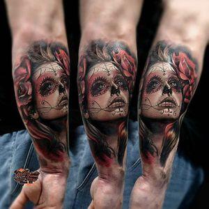 SDia de los Muertos tattoo by Maya Sapiga. #sugarskull #dayofthedead #skull #skullcandywoman