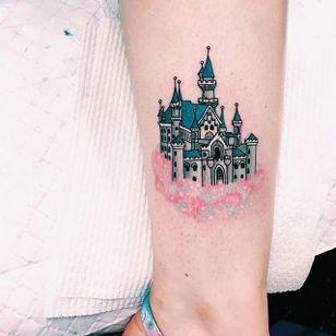 Castle in the sky tattoo by Lauren Winzer. #Lauren Winzer #girly #castle #pastel #cloud